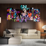 DBS Evil Enemies HD Asymmetrical 5pcs Wall Art Canvas Print - DBZ Saiyan