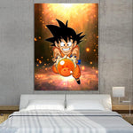 Cute Goku Kid Catch Fourth Dragon Ball 1Pc Canvas Print - DBZ Saiyan