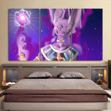 DBZ Beerus Destruction God Portrait Ki Blast Cool 3pc Wall Art - DBZ Saiyan