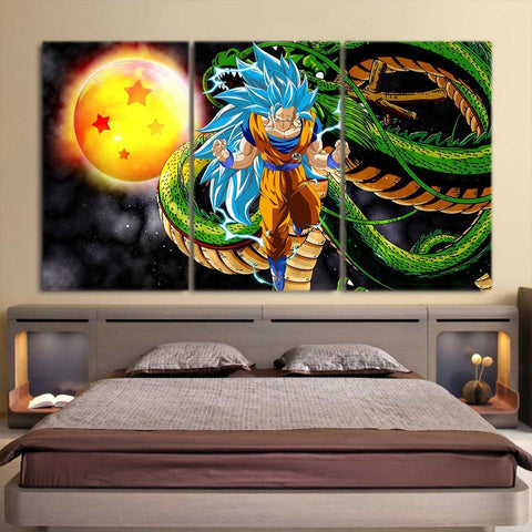 Dragon Ball Shenron Son Goku SSJ4 Blue Vibrant 3pc Canvas Print - DBZ Saiyan