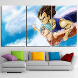 Bulma Vegeta Couple Flying Sky Blue Cool Decor 3pc Canvas Print - DBZ Saiyan