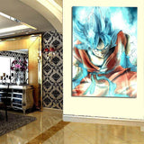 Super Saiyan God Goku Blue Vibrant Aura 1pc Wall Art Canvas Print - DBZ Saiyan