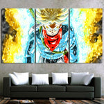 DBZ Trunks Super Saiyan God Blue Cool Design 3Pc Canvas Print - DBZ Saiyan