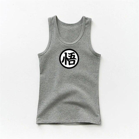 DBZ White Plain Son Goku's Kanji Logo Design Kids Tank Top - DBZ Saiyan