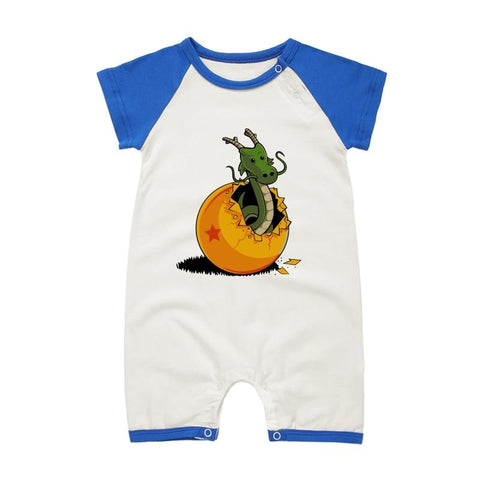 DBZ The Marvelous Shenron Blue Short Sleeve Baby Romper - DBZ Saiyan