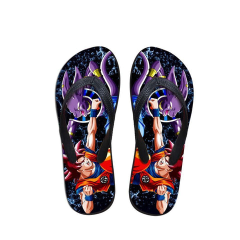 Beerus Destruction God Vs Goku Fight Cool Sandals Flip Flops Shoes - DBZ Saiyan