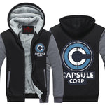 Capsule Corp Black & Gray Fashionable Zip Up Hooded Jacket - DBZ Saiyan