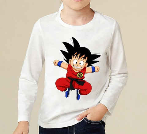 DBZ Kid Goku In His Training Suit Kids Long Sleeve T-Shirt - DBZ Saiyan