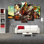 DBZ Art Goku Vegeta Shenron Vibrant Style 5pc Wall Art Decor Canvas Prints - DBZ Saiyan