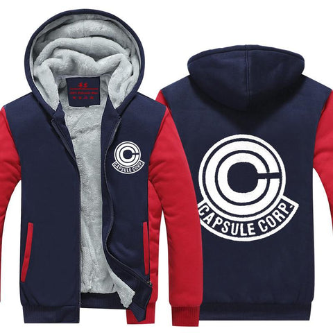 DBZ Capsule Corp Logo Red And Blue Zip Up Hooded Jacket - DBZ Saiyan