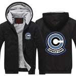 DBZ Classic Capsule Corp Logo Black Zip Up Hooded Jacket - DBZ Saiyan