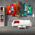 DBS Duel Vegeta Saiyan Prince Rose God Blue SSGSS 5pc Canvas Print Wall Art - DBZ Saiyan