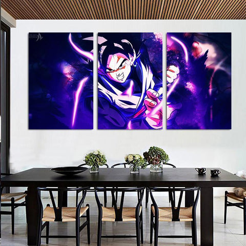 DBZ Goku Black Super Saiyan  Style 3pc Wall Art Decor Canvas Prints - DBZ Saiyan