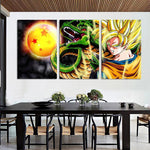 DBZ Goku Shenron Epic Style 3pc Wall Art Decor Posters Canvas Prints - DBZ Saiyan