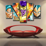 DBZ Goku Vegeta SSGSS Golden Frieza 5pc Wall Art Decor Posters Canvas Prints - DBZ Saiyan