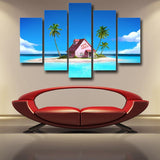 DBZ Master Roshi's Kame House Relax Vibe 5pc Wall Art Decor Posters Canvas Prints - DBZ Saiyan