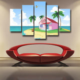 DBZ Master Roshi's Kame House Sketching Art 5pc Wall Art Decor Posters Canvas Prints - DBZ Saiyan