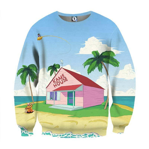 DBZ Super Saiyan Kame House Summer Full Print Design Sweatshirt - DBZ Saiyan