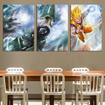Dragon Ball Cell Villain Fight Goku Sketch 3pc Wall Art Decor Canvas Prints - DBZ Saiyan