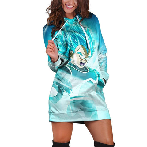 Dragon Ball Epic Super Saiyan God Vegeta Blue Hoodie Dress - DBZ Saiyan