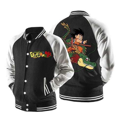 Dragon Ball Goku Riding Super Shenron Baseball Varsity Jacket - DBZ Saiyan