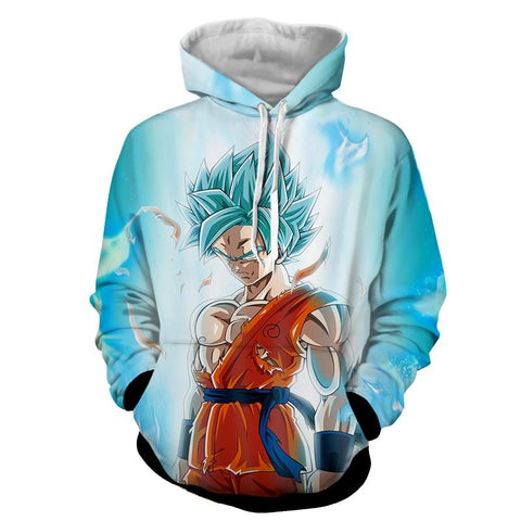 Dragon Ball Serious Super Saiyan Goku 2 Blue Epic Aura Hoodie - DBZ Saiyan