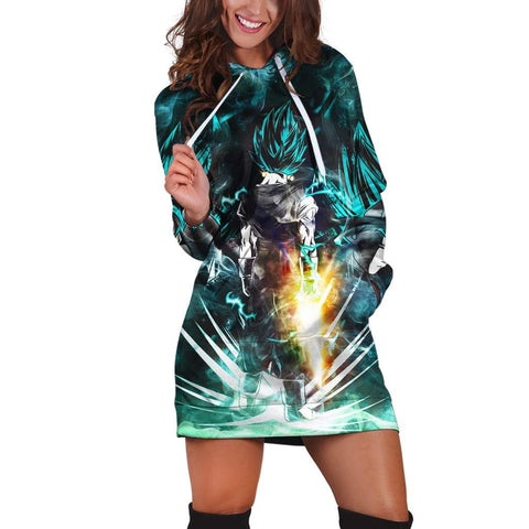 Dragon Ball Super Blue Vegito Epic Mighty Pose Hoodie Dress - DBZ Saiyan