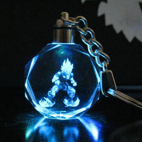 Dragon Ball Super Saiyan Goku Crystal LED Flash Color Keychain Pendant - DBZ Saiyan