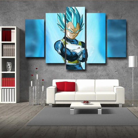 Dragon Ball Super Vegeta God Blue SSGSS 5pc Wall Art Decor Posters Canvas Prints - DBZ Saiyan
