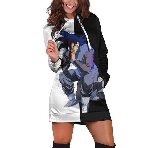 Evil Bad Sitting Goku Black Villain Dragon Ball Super Dress Hoodie - DBZ Saiyan