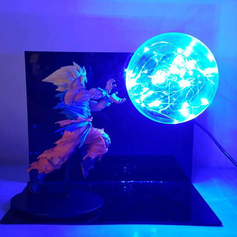 Bruised Super Saiyan Son Goku Kamehameha Wave Blue Flash Ball DIY 3D LED Light Lamp - DBZ Saiyan