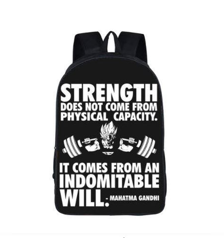 Goku Training Strength Quotes Motivation School Backpack Bag - DBZ Saiyan