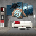 Goku Under the Rain Painting Go Kanji Symbol 5pc Canvas Prints Wall Art - DBZ Saiyan