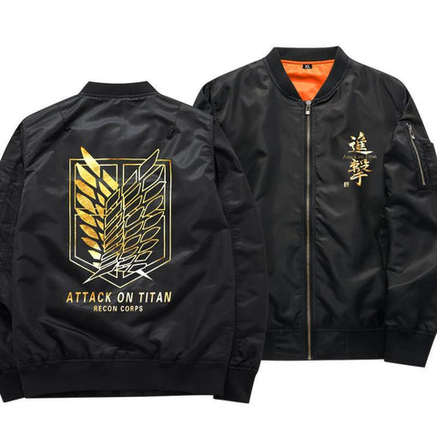Black Attack on Titan Bomber Jacket - DBZ Saiyan