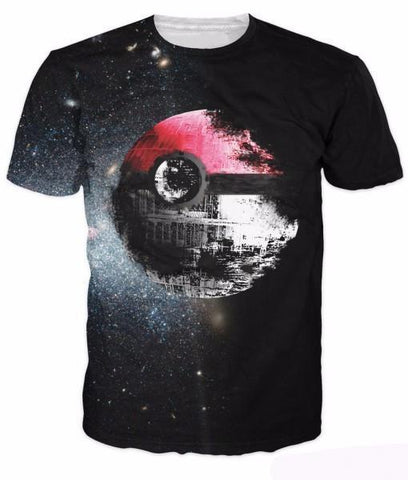 Pokemon Ball Symbol Planet Faded Dark Galaxy Stars Dope Black T-shirt - DBZ Saiyan