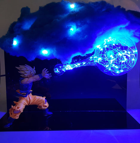 Super Saiyan Goku Kamehameha Wave Blue Cloud Flash Ball DIY 3D LED Light Lamp - DBZ Saiyan