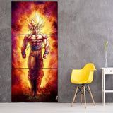 SSJ2 Son Goku Super Saiyan 2 Flame Fire 3PC Canvas Prints - DBZ Saiyan