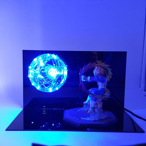 Super Saiyan Vegeta Powerful Attack DIY 3D LED Lamp - DBZ Saiyan