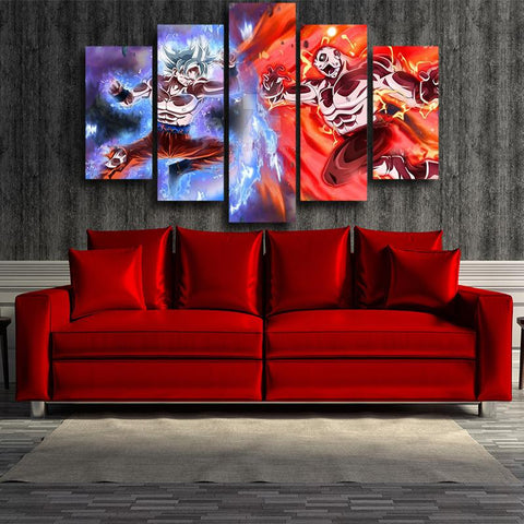 DBZ Goku Jiren Epic Battle 5pcs Wall Art Decor Canvas Prints - DBZ Saiyan