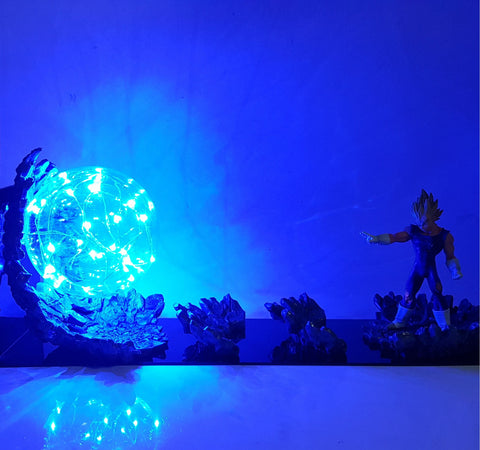 Vegeta Super Saiyan Big Bang Attack Blue Flash Ball DIY 3D LED Light Lamp - DBZ Saiyan