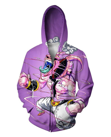 Purple Kid Buu Zip-Up Hoodie - DBZ Saiyan