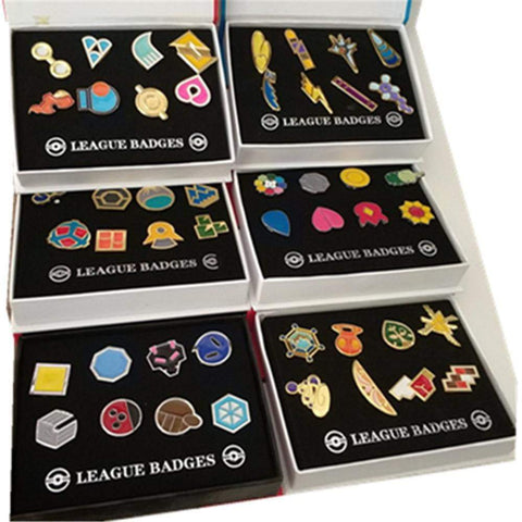 8pcs/set Pokemon Badges Kanto/Johto/Hoenn/Sinnoh/Unova/Kalos League Region Brooches with Box - DBZ Saiyan