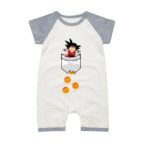 Dragon Ball Z Smiling Kid Goku Short Gray Sleeve Baby Romper - DBZ Saiyan