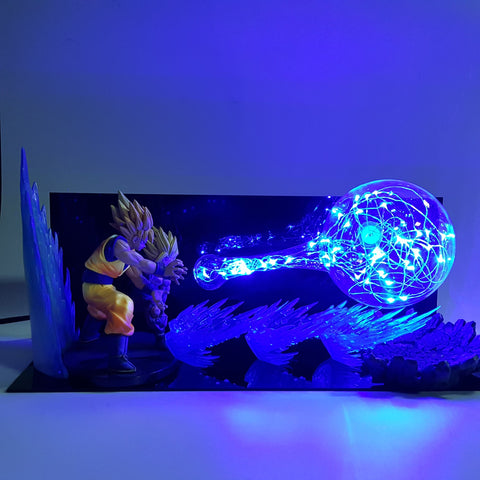 Super Saiyan Goku & Gohan Super Kamehameha Wave Flash Ball DIY 3D LED Light Lamp - DBZ Saiyan