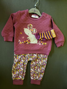 Quilted Sweater Set - Mouse