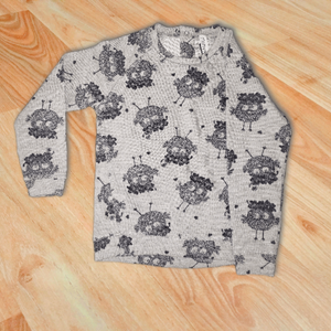 Gray Sweater With Bird Pattern