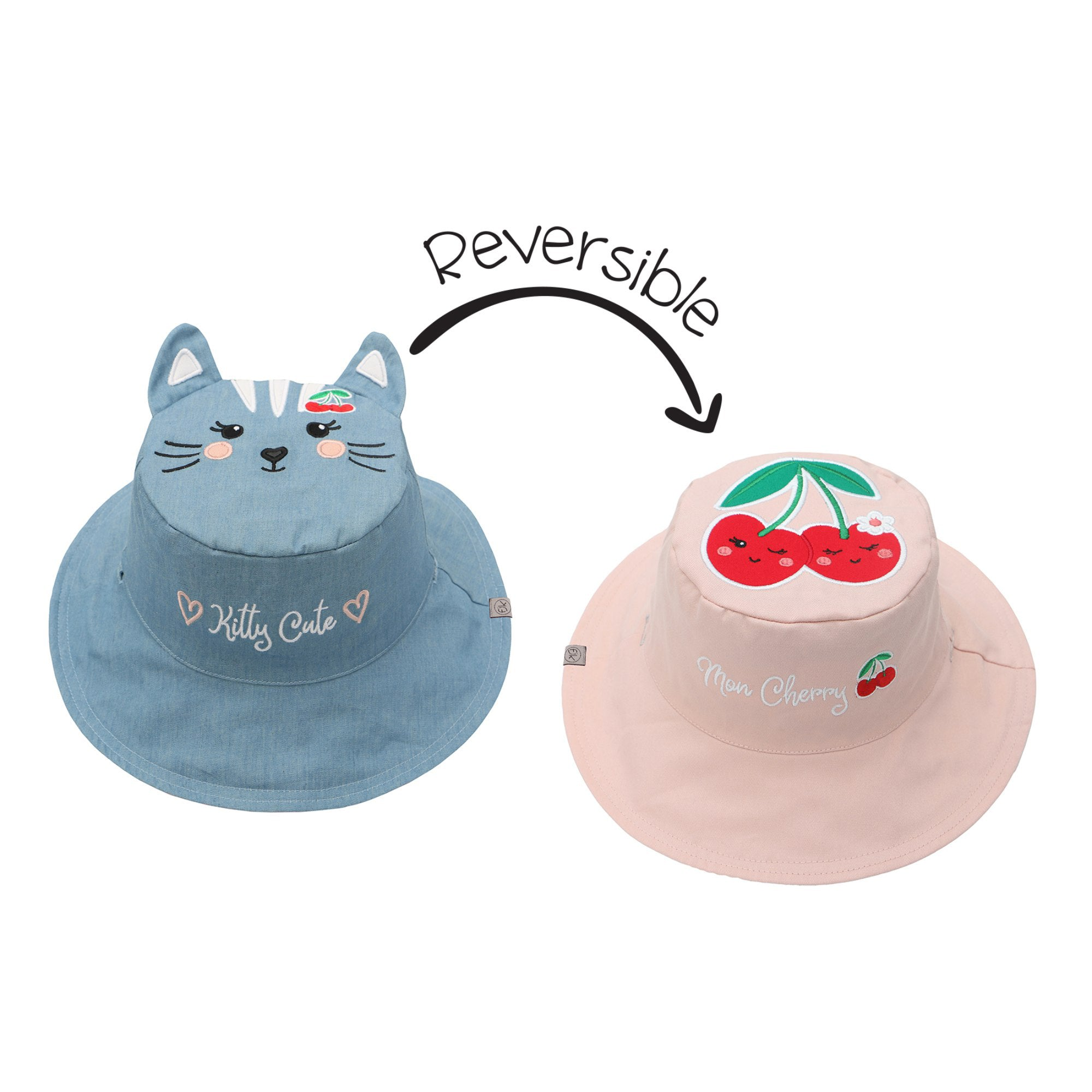 Cat and Cherry Reversible Sun Hat