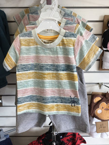 Small Rags striped shirt with grey  shorts