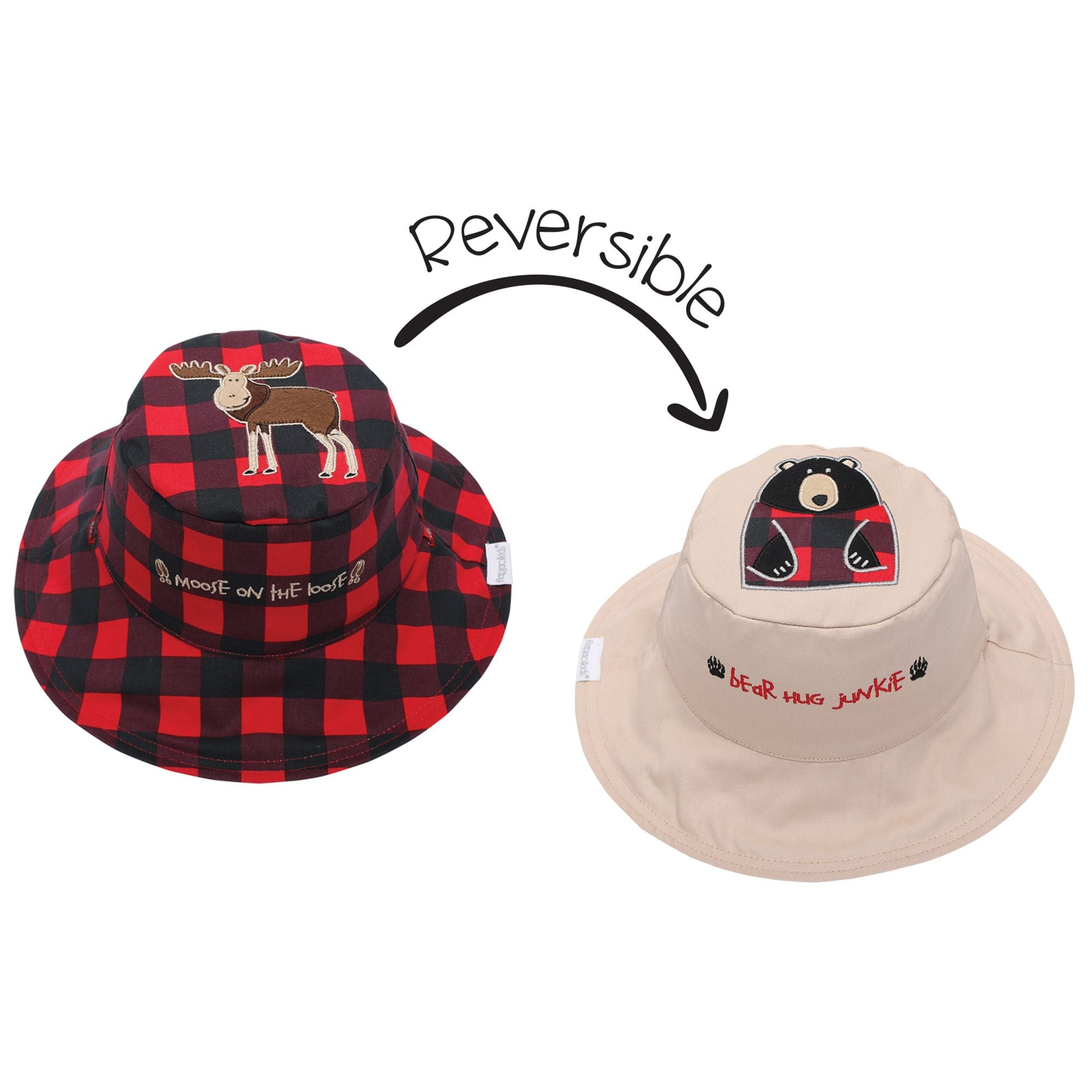 Moose and Bear Reversible Sun Hat