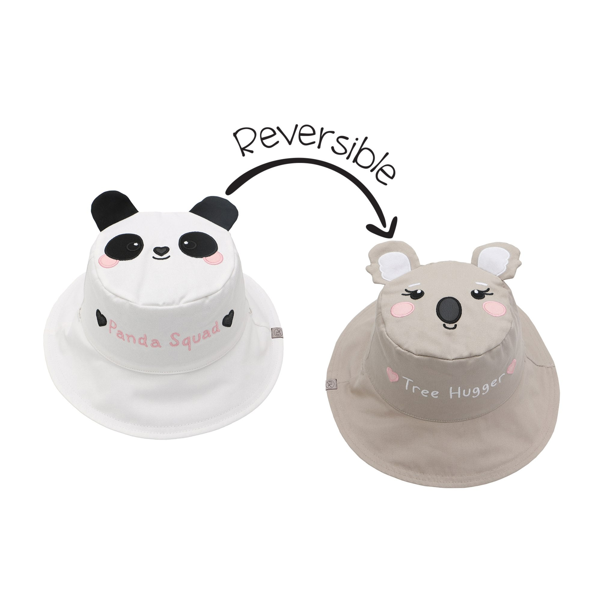 Panda and Koala Reversible Sun Hat